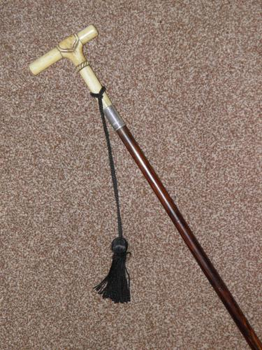 Hallmarked 1922 Silver Walking Stick / Dress Cane With Vacant Cartouche (1 of 12)