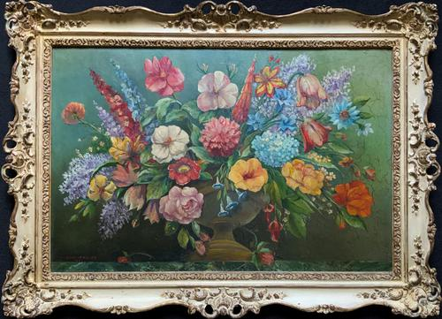 An Extraordinary Original 1952 Vintage French Still Life Of Flowers Oil Painting (1 of 11)