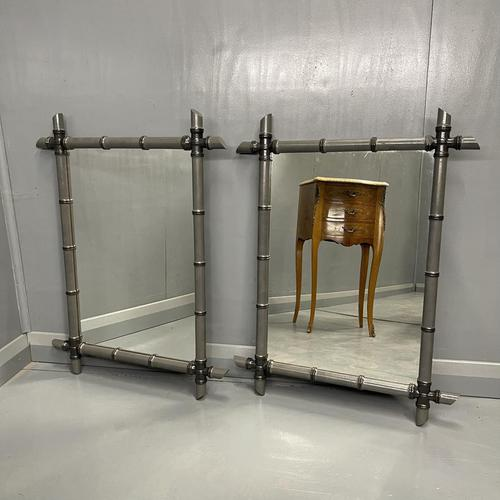 Pair of Two Tone Grey Bamboo Mirrors (1 of 7)