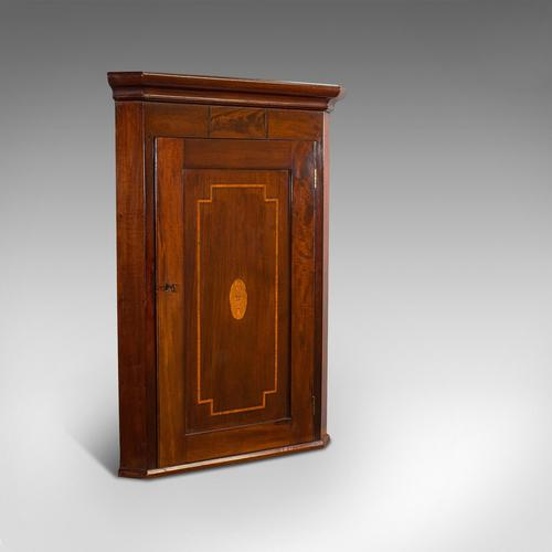Antique Corner Cabinet, English, Mahogany, Walnut, Inlay, Georgian c.1800 (1 of 12)