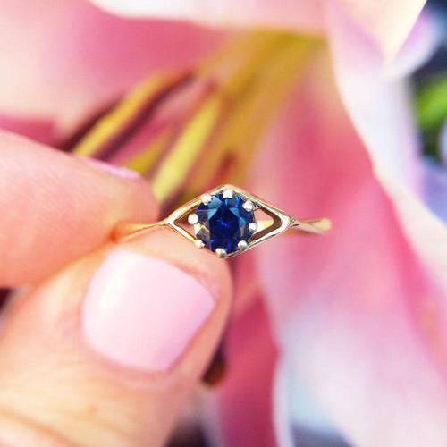 Vintage Dainty 18ct Gold Created Sapphire Evil Eye Ring (1 of 10)