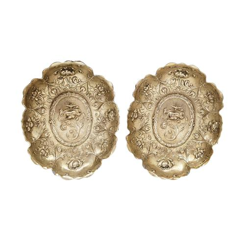 Pair of Antique Victorian Sterling Silver Gilt Dishes 1893 (1 of 11)