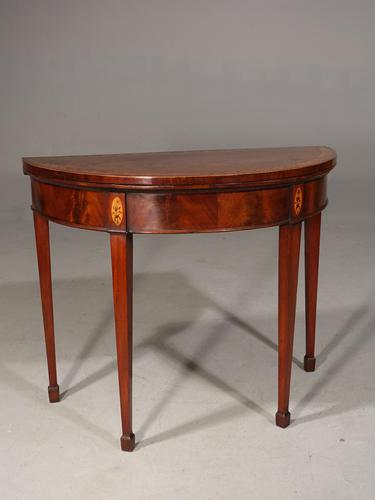 Fine Quality George III Period Demi-lune Card Table (1 of 6)