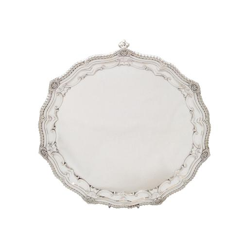 """Antique Edwardian Sterling Silver 12"""" Salver / Tray - 1907 Mappin & Webb (1 of 10)"""