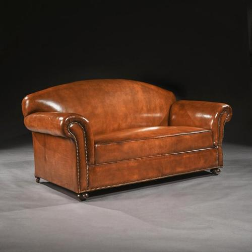 Late 19th Century Victorian Leather Upholstered Drop Arm Sofa (1 of 6)