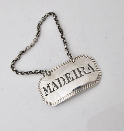 Georgian Silver Wine Label 'Madeira' Thomas Phipps & Edward Robinson London 1806 (1 of 3)