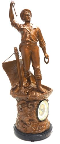 Incredible French Figural Mantel Clock Cod Fishing  8 Day Striking Mantle Clock (1 of 13)