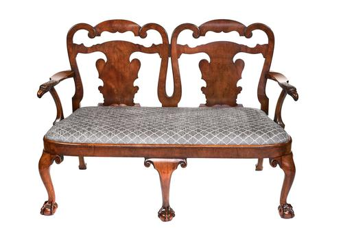 Fine Georgian Revival Walnut Chair back Settee, with carved Eagle head c.1900 (1 of 7)