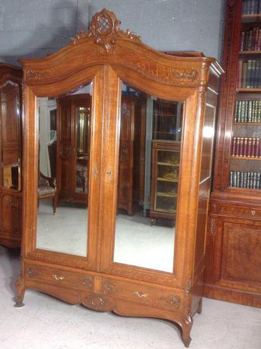 Carved Oak 2 Door  Armoire (1 of 9)