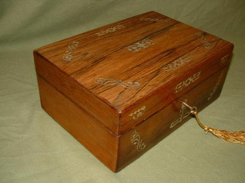 Inlaid Rosewood Jewellery –Table Box c.1850 (1 of 7)