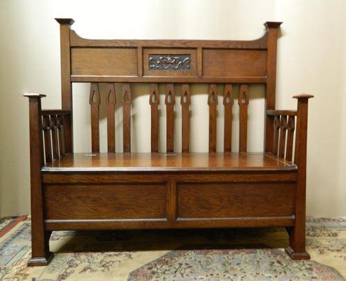 Arts & Crafts Oak Settle (1 of 6)