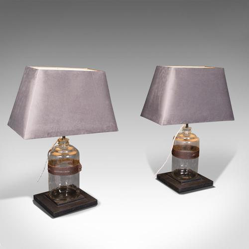 Pair of Antique Jar Lamps, English, Glass, Slate, Side Light, Victorian c.1900 (1 of 9)