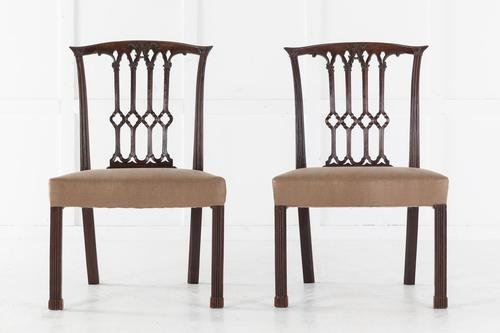 Pair of Georgian Carved Mahogany Side Chairs (1 of 5)