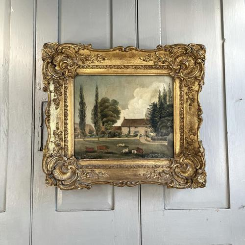 Antique Landscape Oil Painting of Farmhouse with Cows & Sheep (1 of 10)