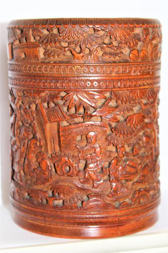 Finely Carved Chinese Bamboo Circular Lidded Pot (1 of 6)