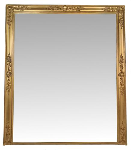19th Century Very Large Size Gilt Overmantle Mirror (1 of 3)