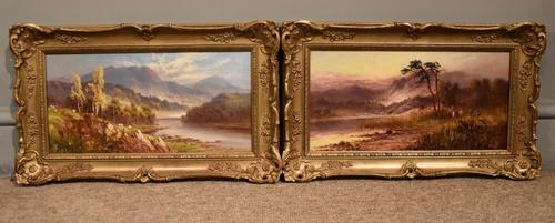 "Oil Painting Pair by Sidney Yates Johnson ""Morning & Evening in the Highlands"" (1 of 7)"