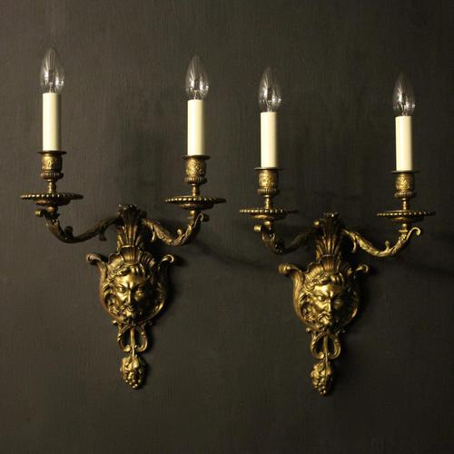 French 19th Century Bronze Bacchus Antique Wall Sconces (1 of 10)