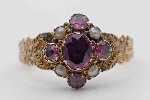 Victorian Garnet & Pearl Mourning Ring (1 of 2)