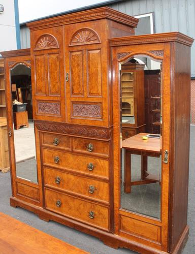 1900's Large Well Fitted Burr Walnut Compactum Wardrobe (1 of 7)