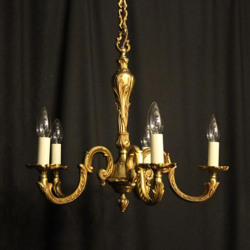 French Gilded Bronze 5 Light Antique Chandelier (1 of 6)