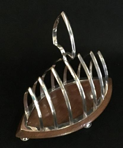Silver Plate & Oak Base Gothic Revival Toast Rack (1 of 4)