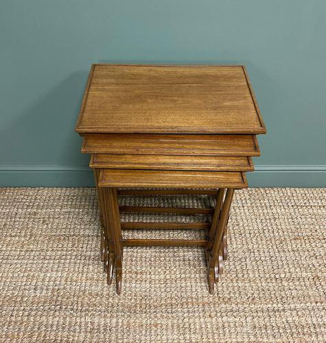 Edwardian Mellow Walnut Nest of Four Antique Tables (1 of 5)