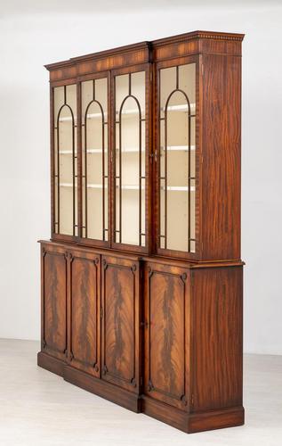 Regency Style 4 Door Breakfront Mahogany Bookcase (1 of 9)