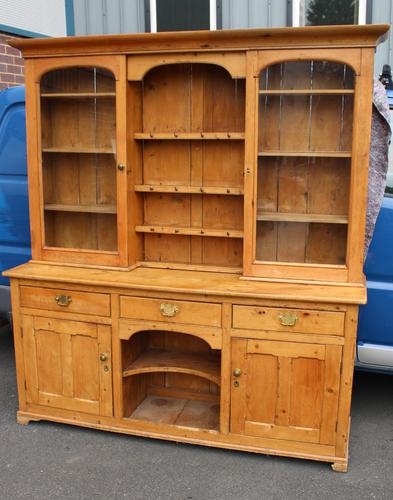 1900's Large Country Pine Dresser with Glass Doors (1 of 4)