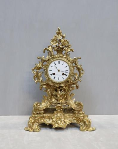 French Bronze Gilt Rococo Style Mantel Clock by Vincenti (1 of 9)