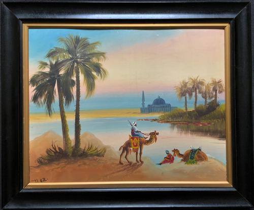 Arabic School - Wonderful Early 20th Century Arabian Camels in Landscape Oil Painting (1 of 12)