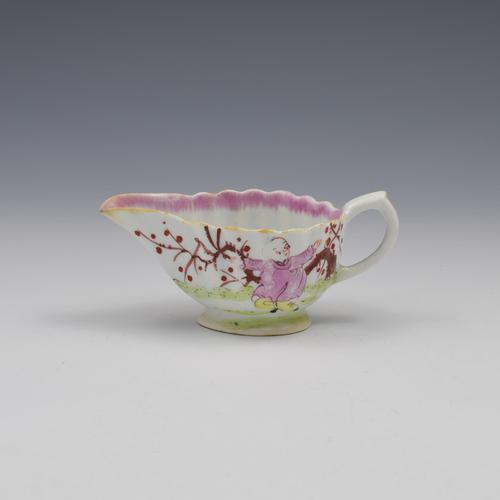 Bow Porcelain Fluted Cream Boat Chinoiserie / Mandarin Pattern c.1765 (1 of 11)