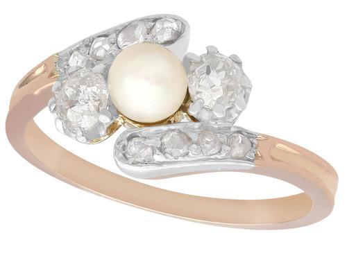 Pearl & 0.51ct Diamond, 18ct Rose Gold Twist Ring - Antique c.1910 (1 of 9)
