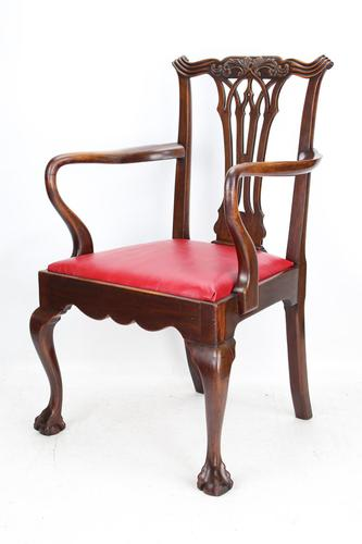 Antique Edwardian Mahogany & Leather Desk Chair (1 of 13)
