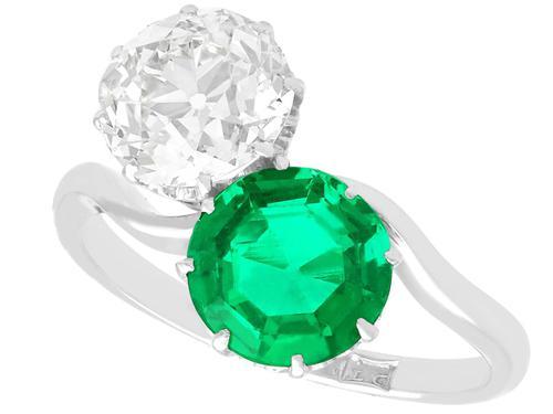 1.70ct Colombian Emerald & 2.18ct Diamond, Platinum Twist Ring - Antique c.1920 (1 of 9)