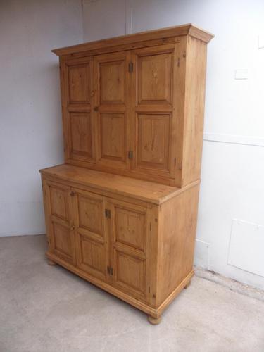 Original Georgian Waxed Antique Pine 1 Piece 6 Door Kitchen Dresser (1 of 9)