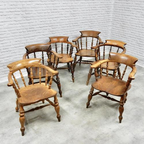 6 Smoker's Bow Armchairs - 19th Century (1 of 6)