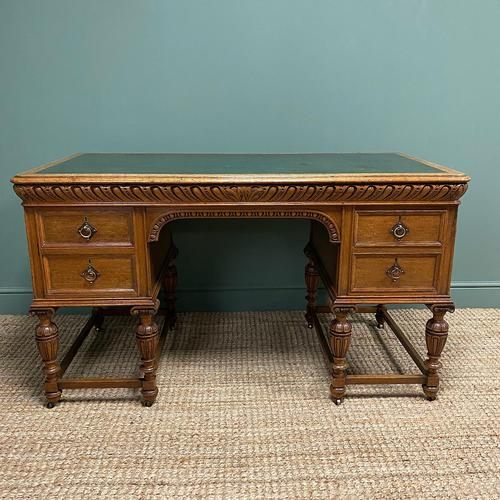 Victorian Oak Antique Pedestal Desk Circa 1890 (1 of 9)