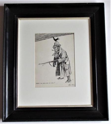 Starr Wood Original Pen & Ink Cartoon, Signed, Vintage Frame (1 of 5)