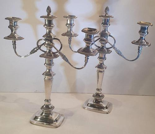 Pair of 19th Century Silver Plate Three Branch Candleabra (1 of 7)