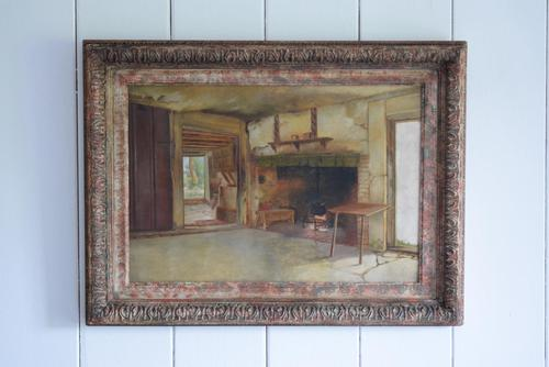 19th Century Oil on Canvas Interior Scene with Fireplace (1 of 11)