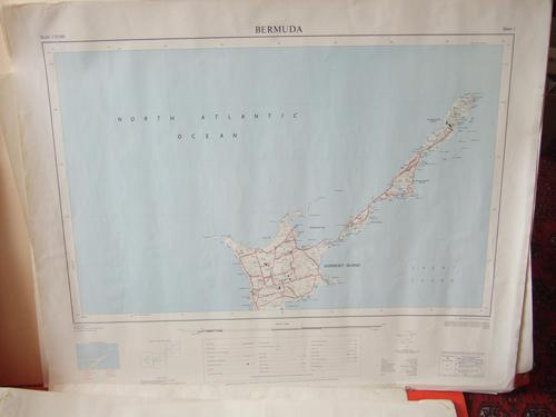 Complete Set of Directorate of Overseas Surveys 'dos' Maps of Bermuda Dated 1966-8 (1 of 9)