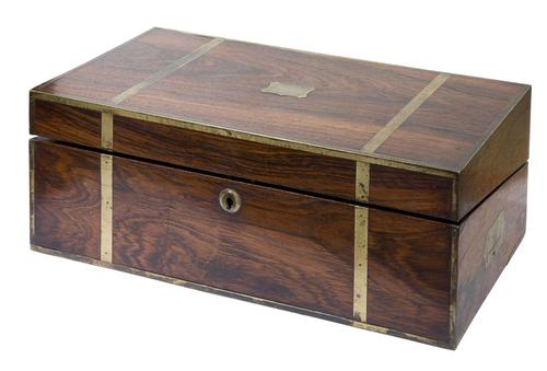 Early 19th Century Brass Bound Rosewood Writing Box (1 of 7)