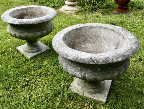 Mid 20th Century Pair of Weathered Cast Stone Garden Planters (1 of 5)