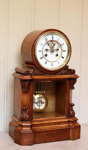 Mid Victorian Drumhead Visible Escapement Mantel Clock (1 of 11)