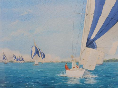 Watercolour Seascape The international one design artist Carolyn Finch (Free shipping to Mainland England) (1 of 10)