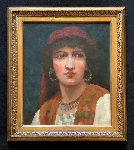 Fine Original 19th Century Antique Portrait Oil Painting of a Stunning Young Gypsy Girl (1 of 11)