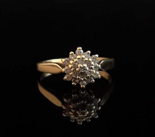 Vintage Diamond Cluster Ring, 18ct Gold (1 of 8)