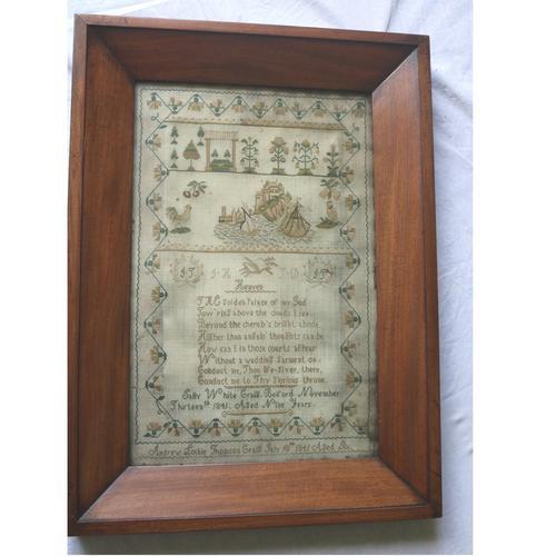 Rare & Fine Embroidery Silk Textile Scottish Castle Sampler c.1841 (1 of 9)