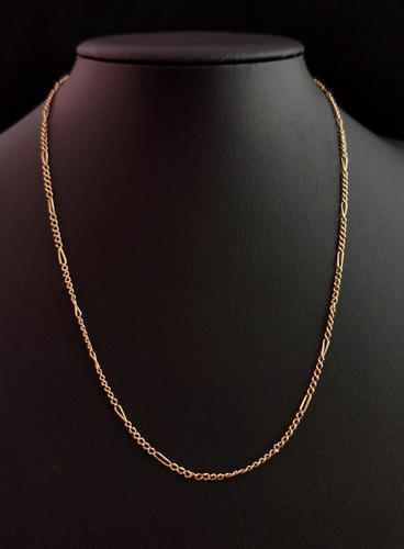 Antique 9ct Gold Figaro Link Chain Necklace (1 of 8)